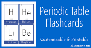 printable periodic table of contents periodic table flash cards stem sheets