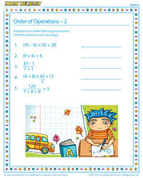order of operations u2013 2 u2013 free algebra worksheets for kids u2013 math