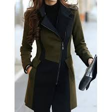 wholesale stylish turn down collar color block worsted long sleeve