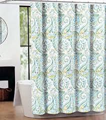 Curtains Blue Green Amazon Com Caro Home Fabric Shower Curtain Teal Medallions