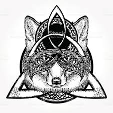 magic fox tattoo and tshirt design fox viking in the celtic style