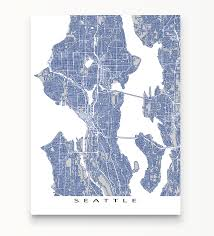 Seattle Wa Map by Seattle Map Art Print Featuring The City Of Seattle Washington