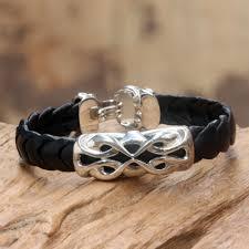 leather sterling bracelet images Unicef uk market men 39 s sterling silver and leather bracelet jpg