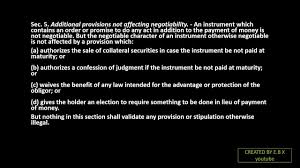 sections in law act 2031 negotiable instrument law sections 1 9 youtube