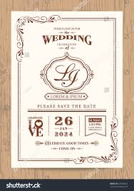 Borders For Wedding Invitation Cards Classic Vintage Wedding Invitation Card Brown Stock Vector