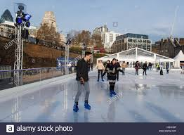 tower of london temporary outdoor ice rink london uk stock photo