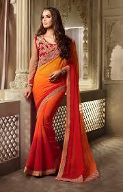 golden orange color orange sarees shop online from india orange designer shaded saree