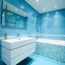 blue glass tile bathroom design floor retro decorating ideas