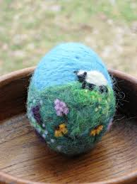 Easter Egg Decorating Lamb by Adorable Needle Felted Easter Decorations