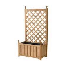dmc lexington 28 in x 16 in natural wood planter with trellis