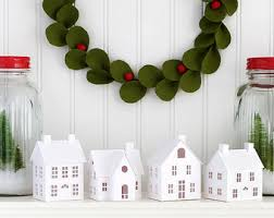diy home christmas decorations diy putz village ornament kit of 4 christmas glitter house