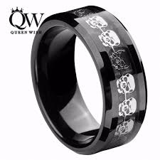 promise rings for men queenwish black tungsten carbide rings men silver skull skeleton
