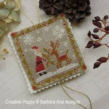 barbara ana designs christmas ornament trio cross stitch pattern