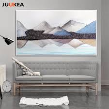 posters for home decor modern mountains lake landscape painting canvas print painting