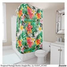Tropical Beach Shower Curtains by Tropical Vintage Exotic Jungle Flower Flowers Shower Curtain