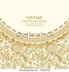 mehndi invitation cards invitation card greetingframe lace on vintage stock vector
