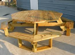 Building Plans For Hexagon Picnic Table by Octagon Wooden Picnic Table Octagon Picnic Table For Outdoor