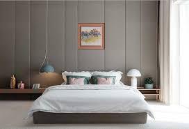 wandgestaltung stoff grau wandgestaltung stoff in diese gemütlich schlafzimmer moderne