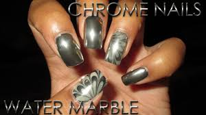 chrome nails with chrome water marble accent diy nail art