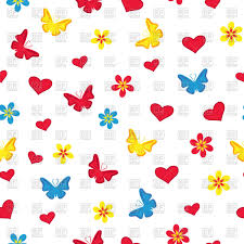 white seamless pattern with silhouettes of butterflies flowers