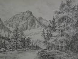 small fine pencil drawing of sierra nevada or other western