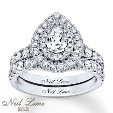 neil pear shaped engagement ring jared neil bridal set 2 ct tw diamonds 14k white gold