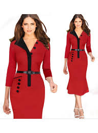 women celebrity elegant patchwork pocket belted bodycon casual