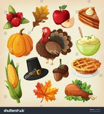 thanksgiving day graphics set colorful cartoon icons thanksgiving day stock vector 117701626