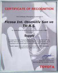 toyota corporate toyota motor europe recognition ficosa otomotiv san ve tic