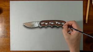 how to draw a 3d knife youtube