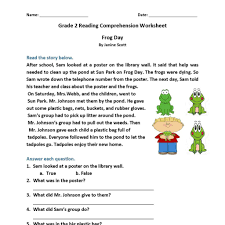 free printable reading comprehension worksheets for 2nd grade and