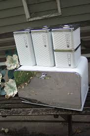 bread box and canisters set of 5 chrome and white lincoln