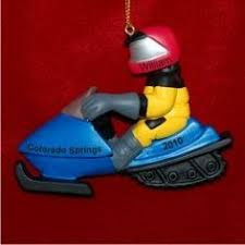 snowmobile for 2 personalized ornaments for boys