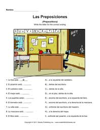 spanish prepositions 1 u2014 instant worksheets