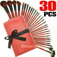 pro cosmetic makeup brushes set high quality goat hair red bag