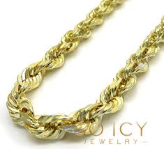5mm diamond 14k yellow gold solid diamond cut rope chain 24 30 inch 5mm