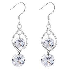 dangling earrings 925 sterling silver teardrop loop with dangling clear austrian