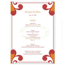 menu templates orange wedding menu templates firelight do it
