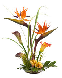 artificial flower tropical bird of paradise calla silk flower centerpiece at