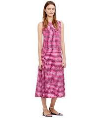 Tory Burch Plus Size Clothing Tory Burch Silk Tea Length Dress In Pink Lyst