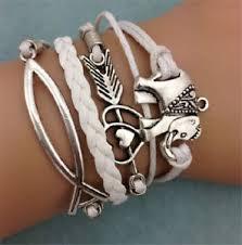 leather charm bracelet ebay images New infinity elephants heart friendship antique silver leather jpg