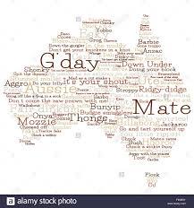 Australian Map Australia Map Made From Australian Slang Words In Vector Format
