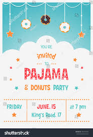 Party Invitation Cards Templates Pajama Donuts Kids Party Invitation Card Stock Vector 305763704
