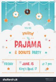 pajama donuts kids party invitation card stock vector 305763704