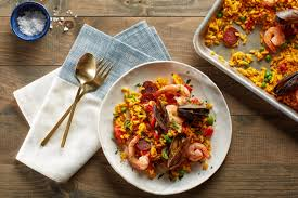 Spanish Flag Fish Sheet Pan Paella With Chorizo Mussels And Shrimp Recipe