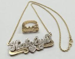 14k gold name plates vintage 14k gold name necklace etsy