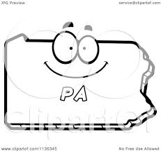 cartoon clipart of an outlined happy pennsylvania state character