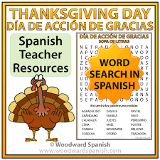 thanksgiving day word search día de acción de gracias