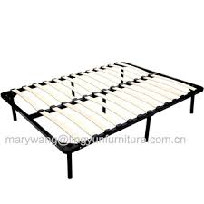 wood slat bed base with wood surround for mattress base view
