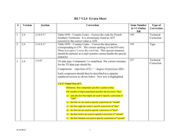 Errata Sheet Template Hl7 Standards Product Brief Hl7 Version 2 4 Specification Errata